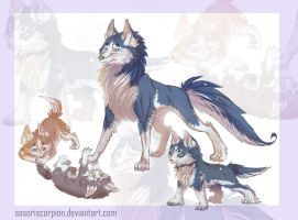 Husky and Puppies by SasoriScorpion