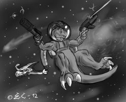 Action T-Rex in Space by EmotionCreator