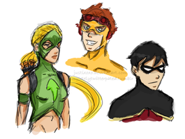 Young Justice Sketches by justixoxo