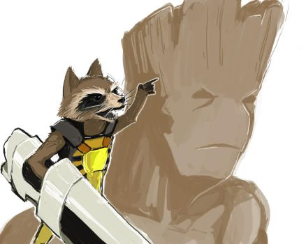 Rocket and Groot by Jackclamp