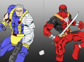 Cable and Deadpool colors by Glwills1126