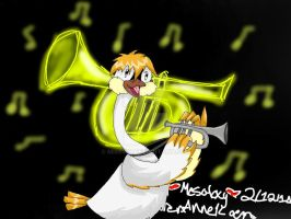 Louis and his trumpet by Misswd