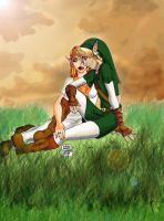 Link and malon talking by Wictorian-Art