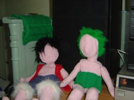 Luffy and Zoro plushies by Lusikka