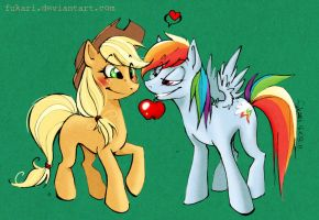 Applejack and Rainbow Dash by Fukari