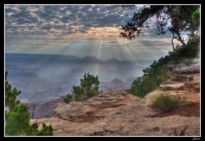 Sun Rays on the Grand Canyon by EvaMcDermott
