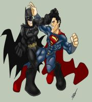 Worlds Finest fight by Kryptoniano