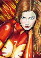 Dark Phoenix Sketch Card 4 by veripwolf