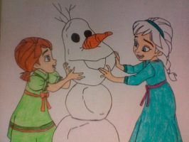 Anna and Elsa Building Olaf the Snowman by Kailie2122