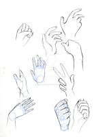 Hand practice sketches(mini tutorial) by SakoiyaChan