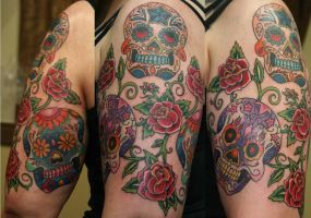 Sugar skulls and roses by tattooedone