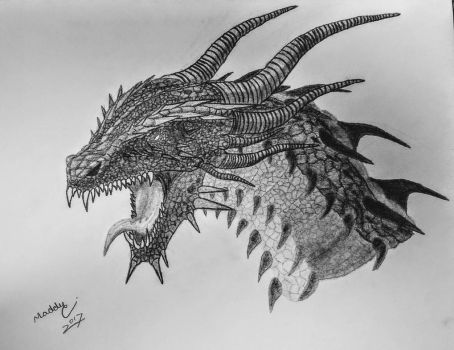 Dragon Head with Charcoal by MadisonCaravella
