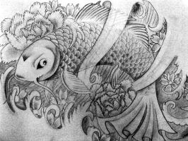 Black and grey Koi fish by KatieMatie