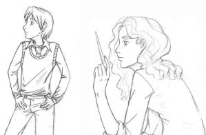 Lupin and Hermione by aleyed