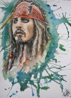 Jack Sparrow. Watercolor by Kaprasis