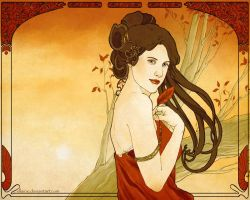 Art Nouveau-Autumn-Wallpaper by ellaine