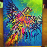 Bird made out of melted crayons! by la-beau-desastre