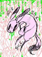 pink bunny pukes green stuff by Hickepop