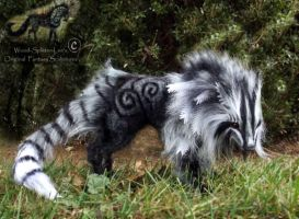 -SOLD-Hand Made Posable Frosted Ghost Wolf by Wood-Splitter-Lee