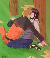 NaruHina sunset kiss by Meje2