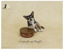 Miniature Chihuahua sculpture by Pajutee