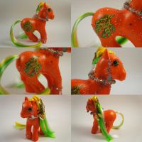 Orange Leafy sea Dragon pony by lovelauraland