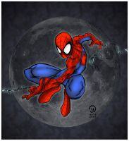 Spider-Man and Moon by pascal-verhoef
