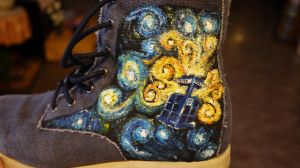 Tardis Van Gogh shoe by NinjaPandaMelon