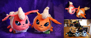 Flareon polochon-style custom plush by Peluchiere