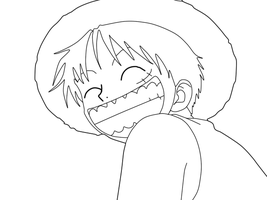 Lineart de Monkey D. Luffy by Gokunks