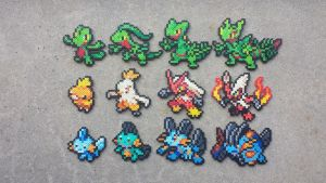 Gen III Starters - Pokemon Perler Bead Sprites by MaddogsCreations