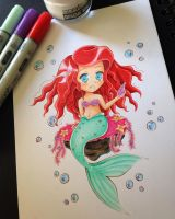 [Coloured] ~ Chibi Ariel by Obsercule-SideArt