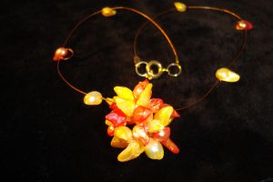 Ball of Flames: pearl necklace by rain2shine