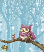 The Owl's First Snow by LiaSelina