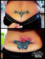 Butterfly and flowers CoverUp by CAMOSartTATTOO