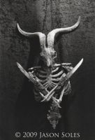 Baphomet sculpture bw by MrSoles