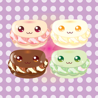 Kawaii Cream Puffs by Edible-Rainbows