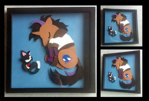 Commission:  Sleepy Meteo Shadowbox by The-Paper-Pony