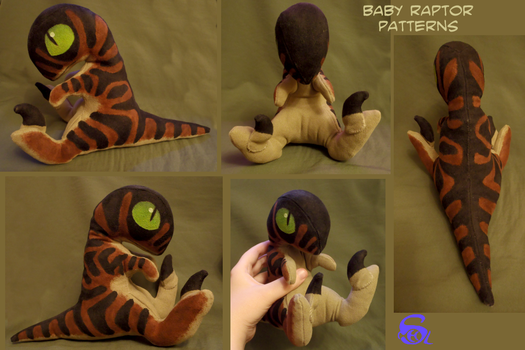 Baby velociraptor-plushie PATTERNS by IsisMasshiro