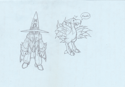 Sketch - Transe Misuto and a Chocobo by Misuto-Gesshoku