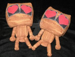 Wooden Robot Plush Toys by lotuseyeproductions