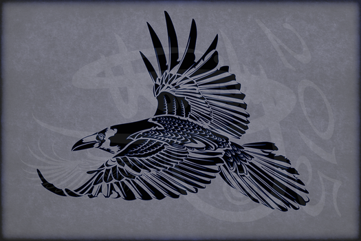 Tribal Tattoo Design Crow/Corvus Corax V1 by Amoebafire