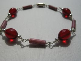 Rich Red Beaded Bracelet by aussiechicksteph