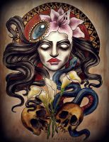 TATTOO DESIGN snake skulls flowers by MWeiss-Art