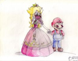 Mario and Peach by vivuz