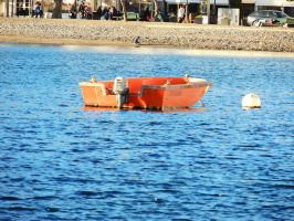 lonely orange boat by ionelat
