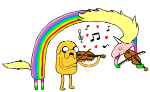 Jake and Lady playing viola by PandasEatingCupcakes