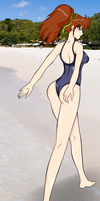 Kasumi on the Beach by Nevarkun by Shaded-Seraphim