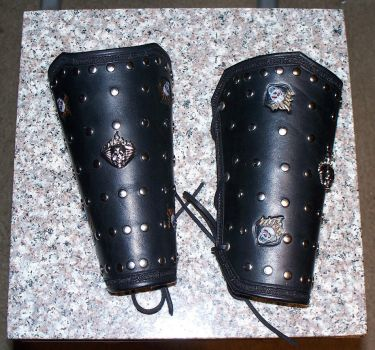 Flaming Skulls Bracers by sgtevmckay