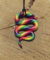 Rainbow snake necklace by MeticulousBlue